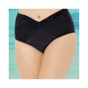 Sexy Black Low Waist Twist Front Swim Brief